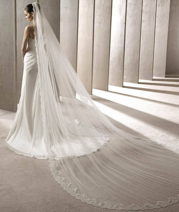 White Ivory Cathedral Length Luxury Lace Edge Wedding Veil 3 Meters High Fashion Long Bridal Head Veils Accessories In From Weddings