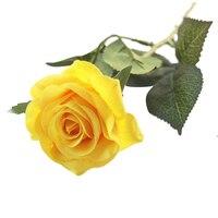 Praktische Boutique Kunstmatige Rose Bloemen Bruidsboeket Decoratie Bundels-12 stks (Geel)