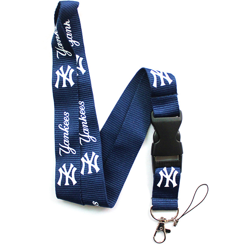 NY Yankees Team LOGO Lanyard Neck Strap Keychain for ID Pass Card Badge Key Mobile Phone USB Holder Hang Rope Lanyard ...