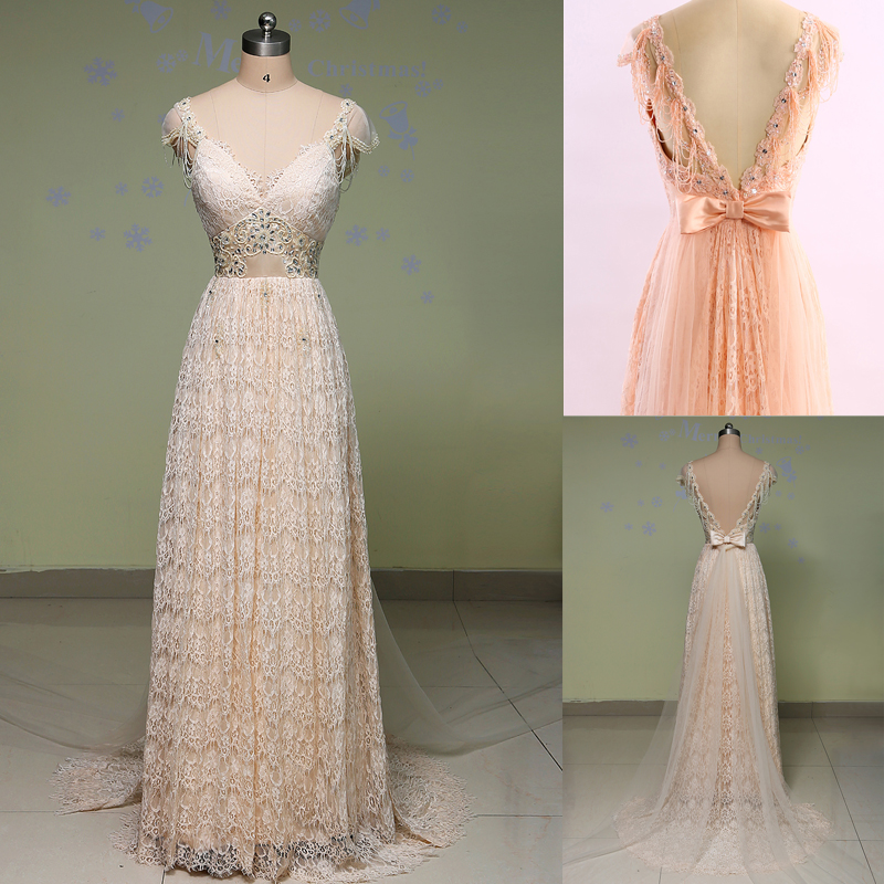 vintage lace wedding dress 2016 sexy backless beaded a line champagnepeach wedding dresses robe