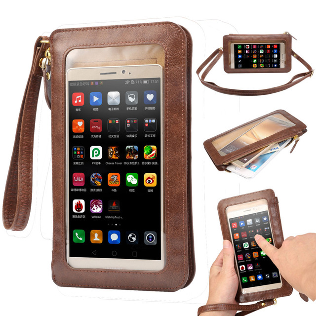 save off edb19 f2e19 US $9.39 6% OFF|NEW Leather Case Touch Screen + Small Shoulder Crossbody  Pouch + Wallet Bag for Samsung Galaxy Note 7 Case for iPhone 7 7plus-in  Phone ...