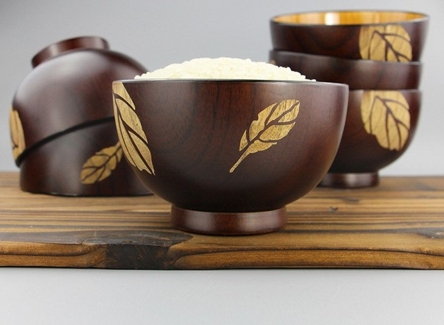 1PC Japanese Jujube Wood Bowl Pure Color Unbreakable CHinese Style Rice  Soup Fruit Bowl Kitchen Utensil