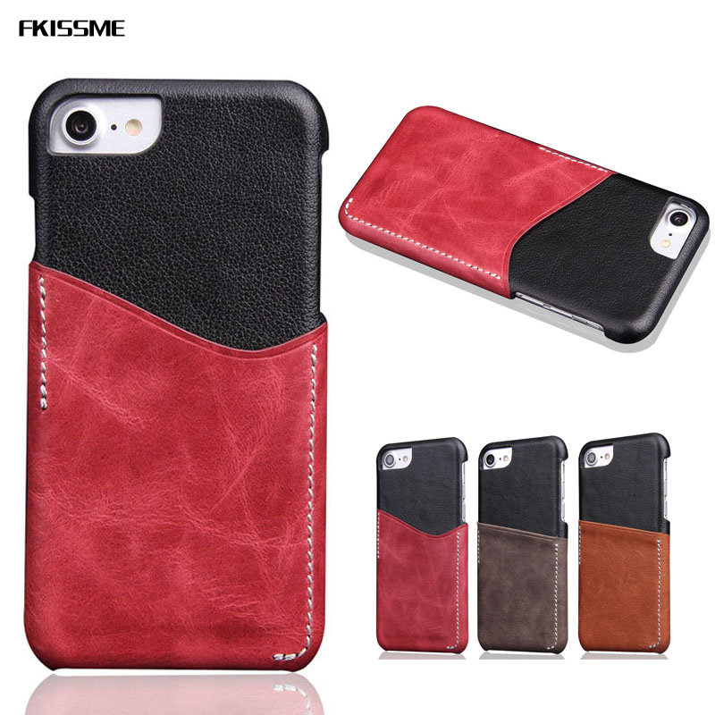 FKISSME For iPhone 7 Case Genuine Leather Hard Back Card Slot Phone Cases for iPhone 8 Case Luxury Vintage Slim Protective Cover