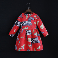 Spring family matching outfits children clothing red zebra full sleeve jacquard mom & baby girls dress mother and daughter dress