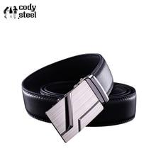 Cody Steel High Quality Business Men Belts Automatic Buckle PU Leather Man Fashion Belts Classic Popular Luxury Black Belts Male