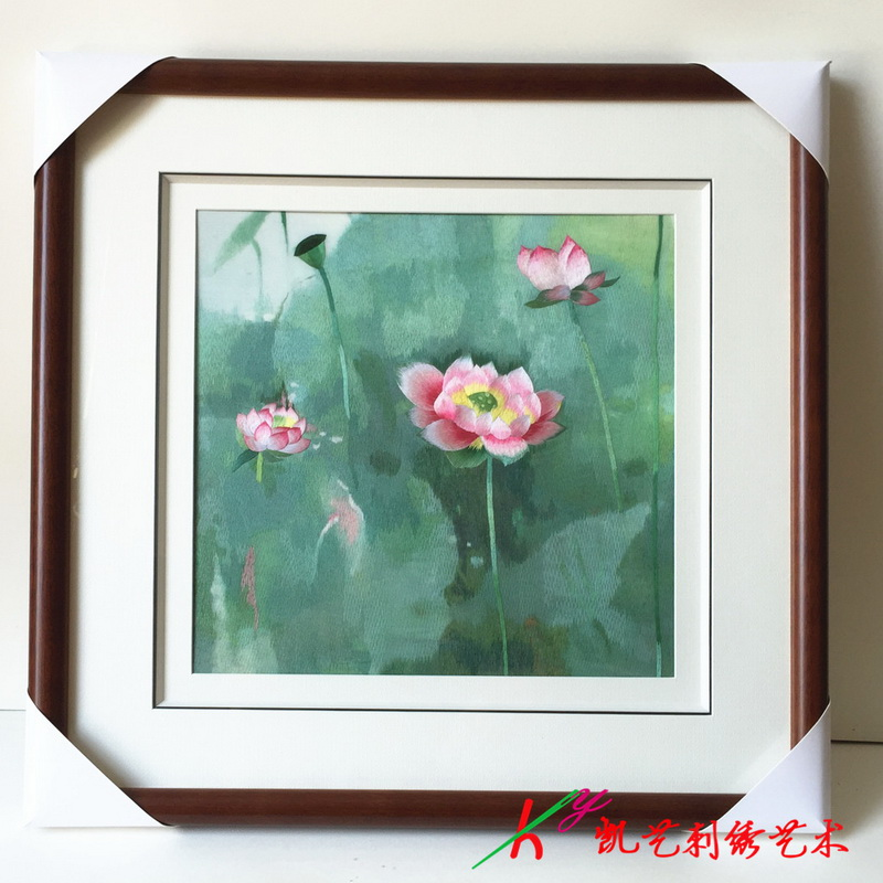 Su embroidery embroidery painting finished lotus living room painting bedroom porch hanging painting in Embroidery from Home Garden