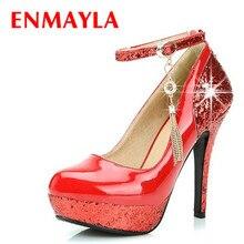 купить ENMAYER  New Fashion Womens Strap High Heels Mary Jane Platform Stilettos Pumps Wedding Shoes по цене 2055.78 рублей
