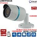 H.265/H264 HD 1080 P 2-МЕГАПИКСЕЛЬНАЯ Ip-камера POE IMX290 + Hi3516D 3X Моторизованный зум Автофокус 2.8-8 объектив ИК 20 М Onvif Сеть видеонаблюдения камера