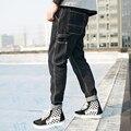 Calças de brim dos homens de alta moda de rua hip hop macho Multi-bolso casual denim calças soltas calças jeans primavera jeans novos calças K147