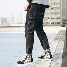Men high street fashion hip hop jeans male Multi-pocket casual denim pants loose denim trousers spring new jeans pants K147