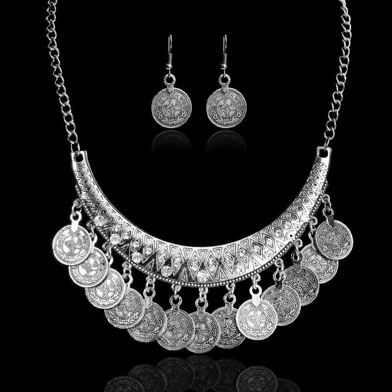Venda quente boêmio gargantilhas do vintage colar moda étnica esculpida moedas agradáveis colares para mulheres jóias finas colar
