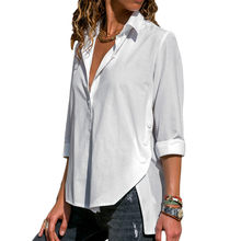 Blouse Shirt 2019 Fashion Women Long Sleeve Blouse Casual Loose White Blouse Elegant Office Ladies Wears Autumn Button Tops Tees(China)