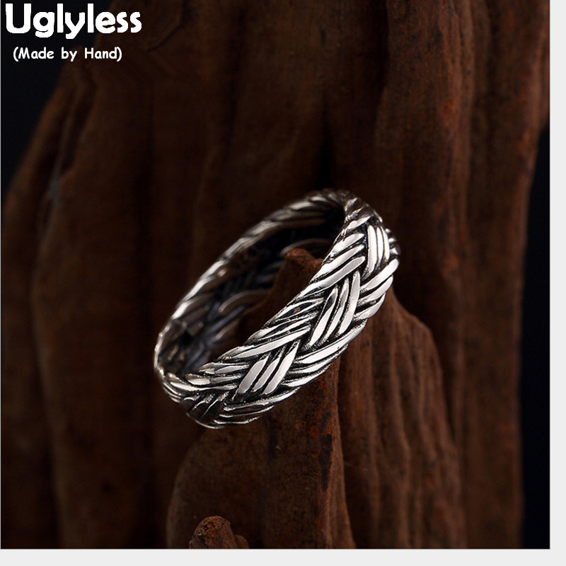 Uglyless 100% Real 925 Sterling Silver Handmade Twist Rings for Women Vintage Fine Jewelry Multi Layer Thai Silver Lines Twisted