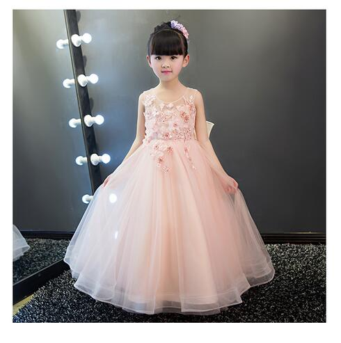 Girls Pageant Long Formal Dresses 2017 Sleeveless Gauze Gowns Lace Flowers Girls Tutu Dress Bow Kids Wedding Party Dresses 1-9Y lace butterfly flowers laser cut white bow wedding invitations printing blank elegant invitation card kit casamento convite
