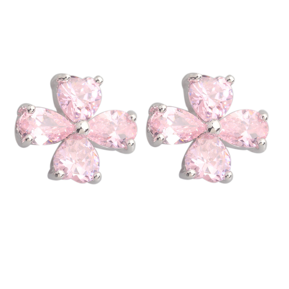 Four Leaf Clover Pink Kunzite 3*5mm Semi-precious Silver Cool For Womens Stud Earrings ED0259