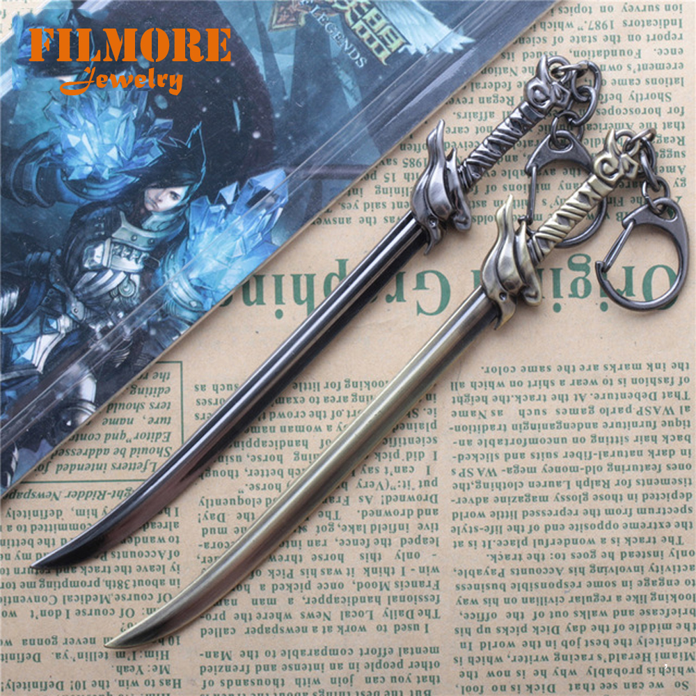 15cm League Of Legends Lol Wind Sword Yasuo Weapon Sword Bronze Alloy Pendant Key Ring Keychain In Display Box