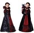 2016 da menina da bruxa lace dress + colar do partido da princesa vestidos de tutu das crianças dos miúdos do bebê roupas do dia das bruxas carnaval traje cosplay