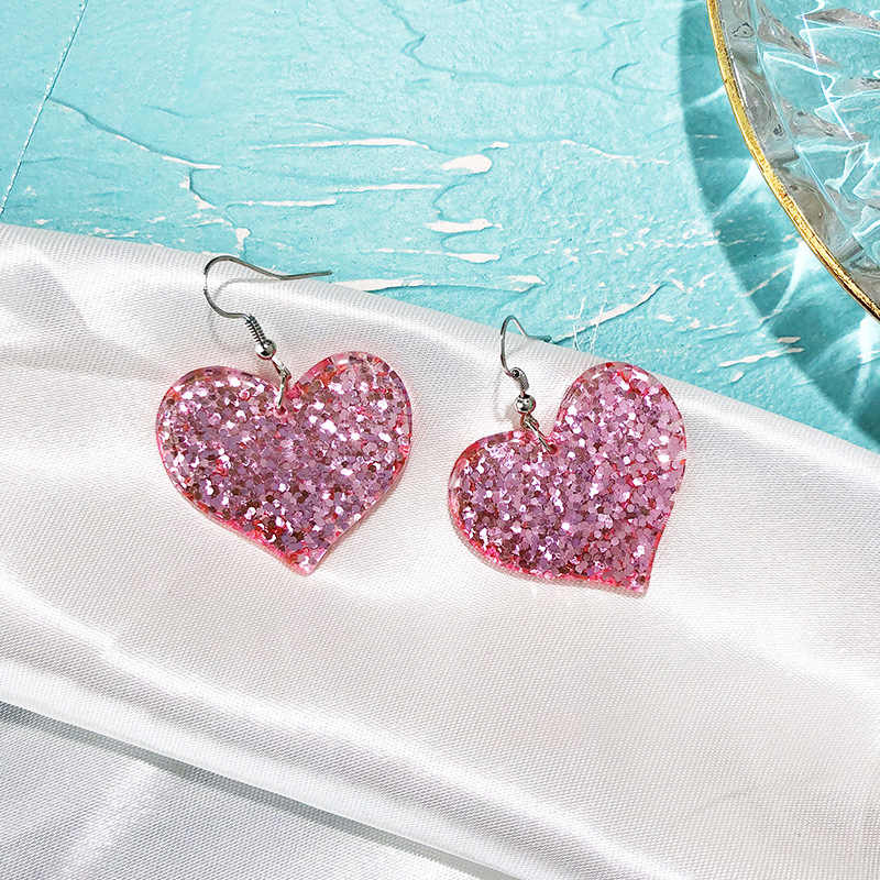 Xzp Lucu BlingBling Glitter Bintang Jantung DROP Danggle Anting-Anting Berkilau Korea Pentagram Bintang Cinta Anting-Anting untuk Wanita Gadis