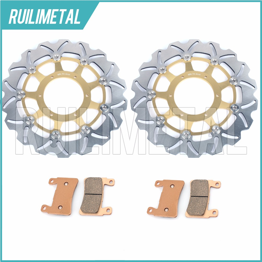 New Front Brake Discs Rotors + Pads Set for HONDA CBR 600 F4 F4i Sport CBR600 CBR-600  2001 2002 2003 2004 2005 2006 2001 2002 2003 2004 2005 2007 full set motorcycle new front rear brake discs rotors for honda cbr600f cbr 600 f supersport f4