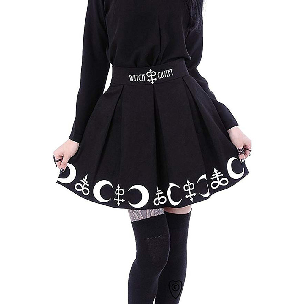FREE OSTRICH Hot Women Gothic Punk Witchcraft Moon Magic Spell Symbols Pleated Mini Skirt Women Skirts 2019 New Arrivals