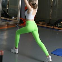 Women workout leggings elastic solid pants candy color High Waist Stretched Sportwear soft cotton Bodybuilding Leggings