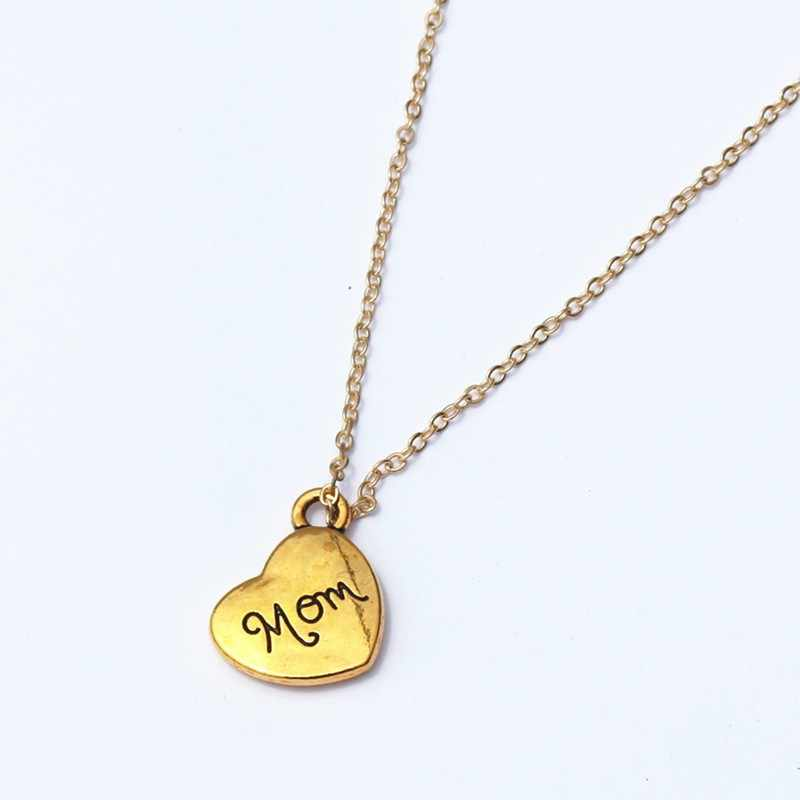 N805 mamá corazón Collares colgantes para mujeres joyería de moda amor Bijoux collar regalo para el día de la madre