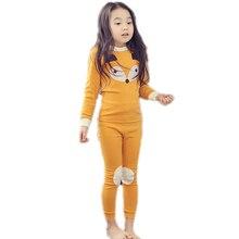 Купить с кэшбэком 2017 spring autumn girls kids pajamas sets children christmas pyjamas sets cartoon fox kids girls sleepwear long sleeve 2pcs