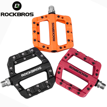 цены ROCKBROS MTB Ultralight Bike Pedals Professional Bicycle Cycling Bearing Flat Platform Pedals For Mountain Road bmx Bike Parts