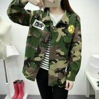 2016 New Fashion Women Camouflage Jackets Military Outwear Veste Femme Ladies Long Sleeve Short Jacket Blouses