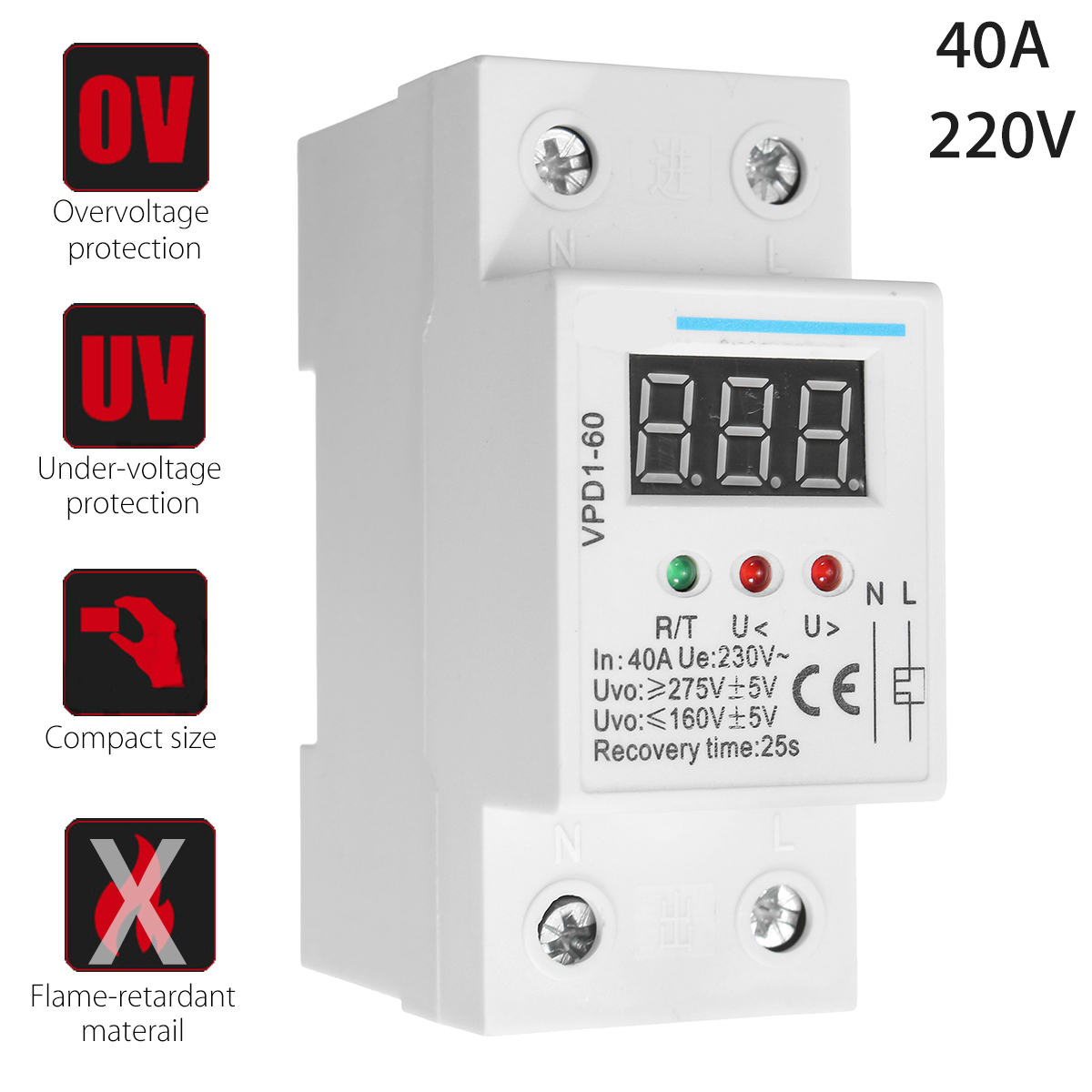 40A 220V Over And Under Voltage Protection Protective Device Automatic Reconnect Recovery For Home Improvement efficient recovery mechanisms over igp and manet networks