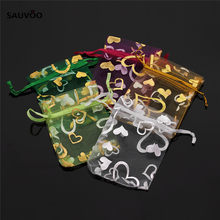 Wholesale 25pcs Mixed Color Heart Jewelry Packaging Drawable Organza Bags 7x9cm 9X12cm Wedding Party Gift Bags & Pouches F1737(China)
