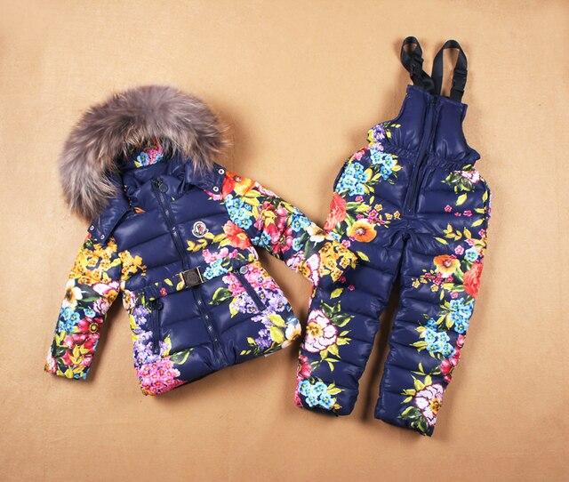 Лыжные костюмы девушки Правда меховой воротник детская одежда Надьмарош 2016 зимой дети 2 шт. набор верхняя одежда снежинка ветрозащитный набор