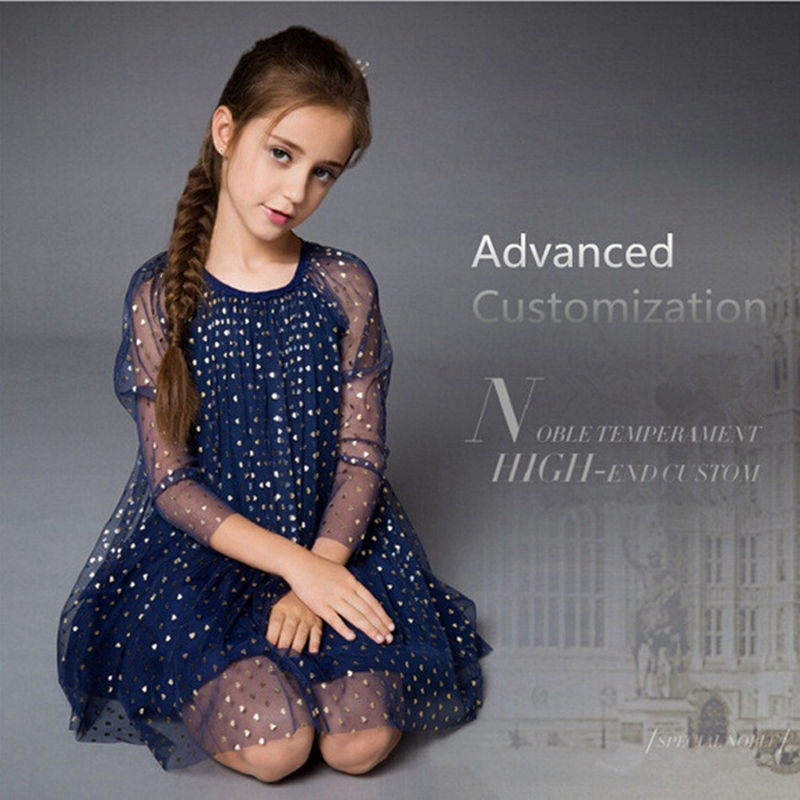 Girls Long Sleeve Dress New Year Dress 2017 Europe and the United States mesh sequins Princess Summer Girl dress A1060 2017 children summer wear girl s printing in europe and the united states foreign trade dress sleeveless flower princess dress