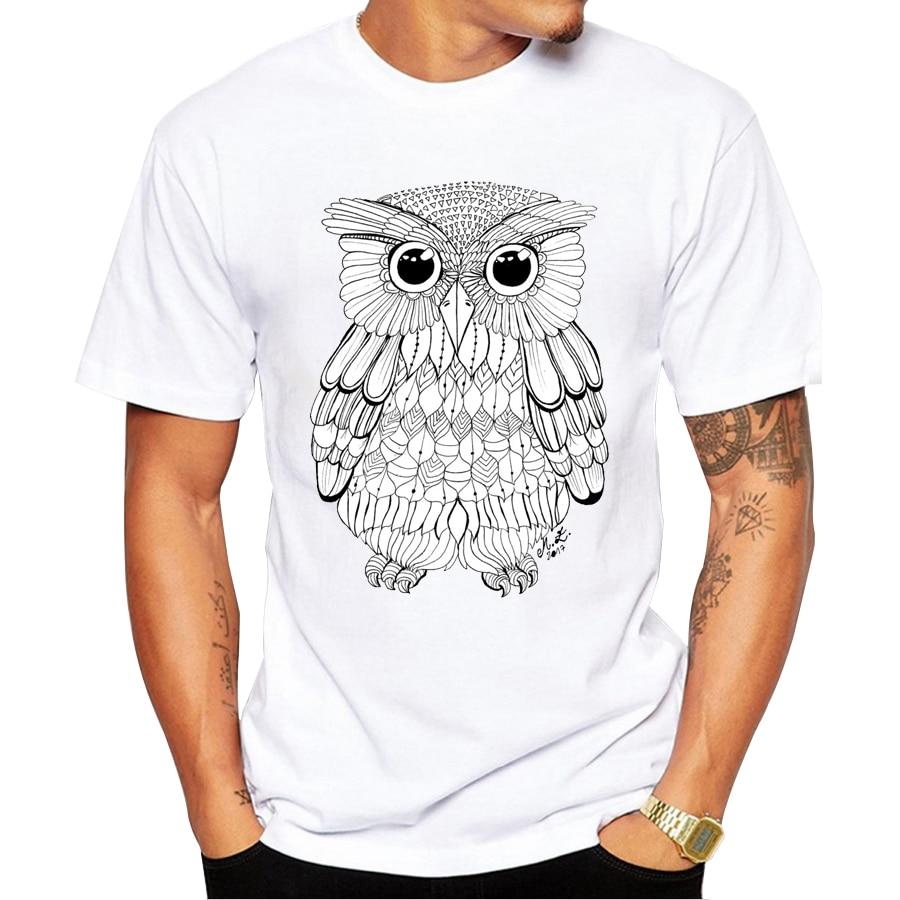 Shirt design ink - 2017 Summer Men T Shirts Newest Fashion Ink Lineart Black Owl Design T Shirt Short