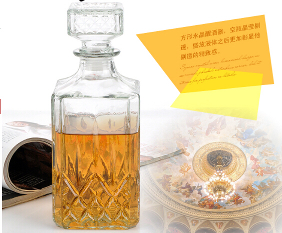1PC 800ML New Glass Whiskey Liquor Wine Drinks Decanter Crystal Bottle Wine Carafe Gift JR 1084 in Decanters from Home Garden