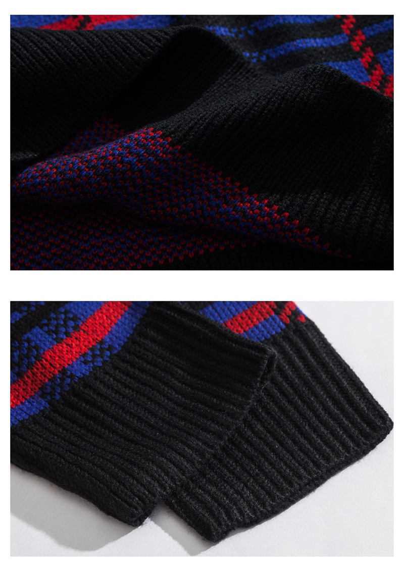 Knitted Harajuku Casual Embroidered Letter Plaid Sweater for Men Japanese Style Urban Boys Knit Pullover Jumper Plus Size M-XL 11