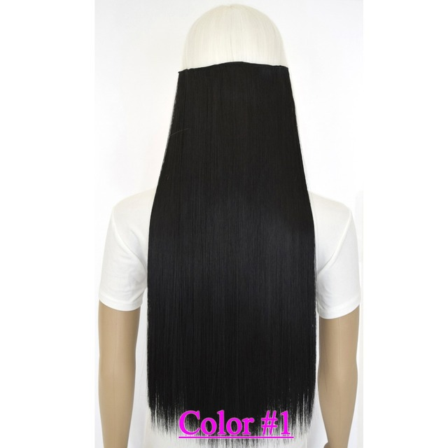 "24""(60cm) 120g straiht clip in synthetic hair extensions hairpiece hair pieces accessories color #1 jet black"