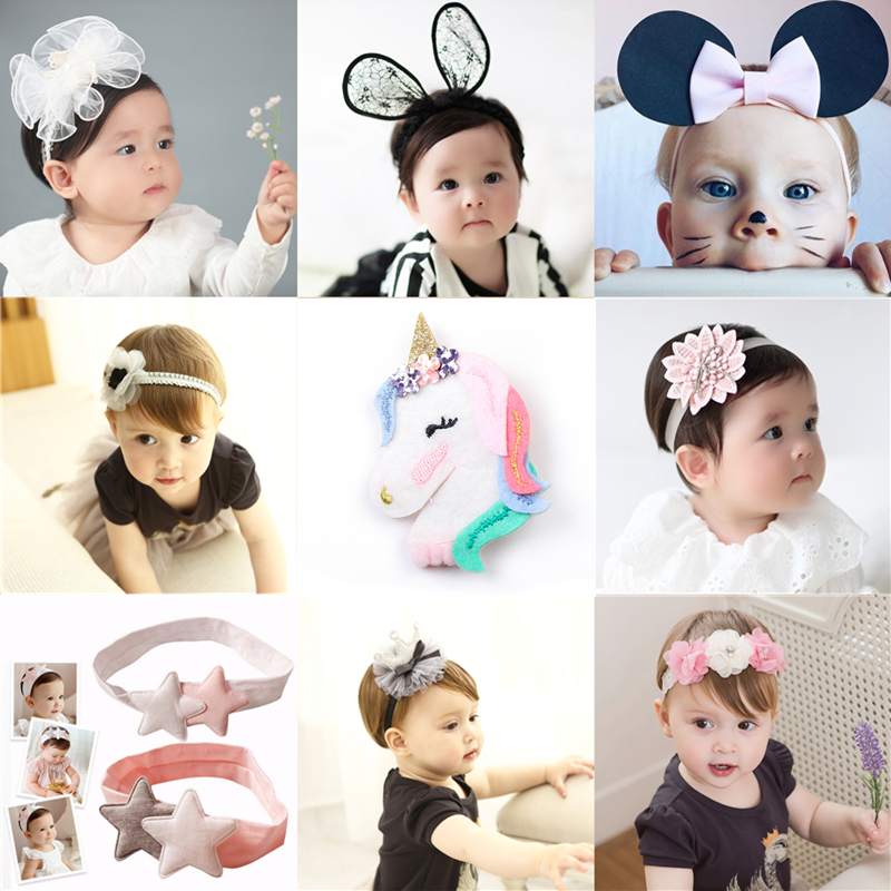 New Baby Headband Unicorn Cute Elastic Hairbands Kids Children Girls Boys Headwear Hair Accessories Infant Children Head Bandage allbitefo over the knee boots nubuck leather medium heel women boots 4 colors winter boots thick heel snow boots size 33 43