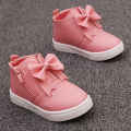 2016 new girl shoes children shoes kids footwear Korean version of the simple bow high help side zipper leather shoes CS-216