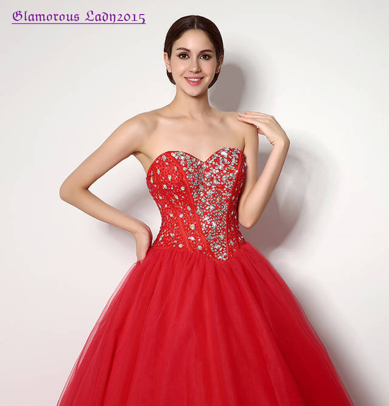 caf237d9982 Graceful Ball Gown Red Shining Crystal Sweetheart Prom Dress For Big Girl  Sweet 16 Women Formal Occasion Off the Shoulder Tulle-in Prom Dresses from  ...