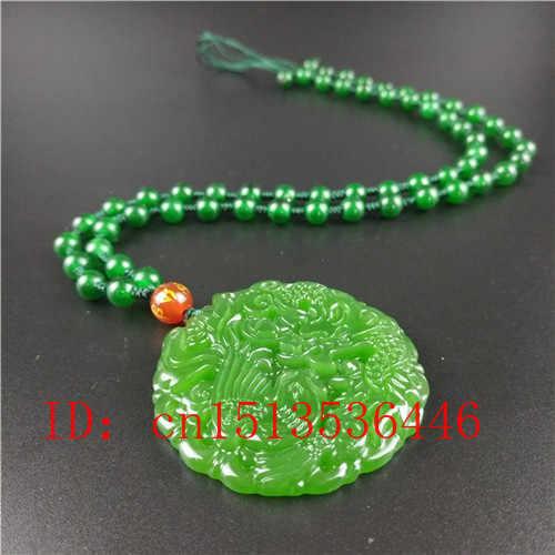 ธรรมชาติสีเขียวจีน Dragon Phoenix จี้หยกแกะสลักลูกปัดสร้อยคอสร้อยคอสร้อยคอสร้อยคอสร้อยคอสร้อยคอสร้อยคอสร้อยคอสร้อยคอสร้อยข้อมืออัญมณีแฟชั่น Lucky Amulet ของขวัญ