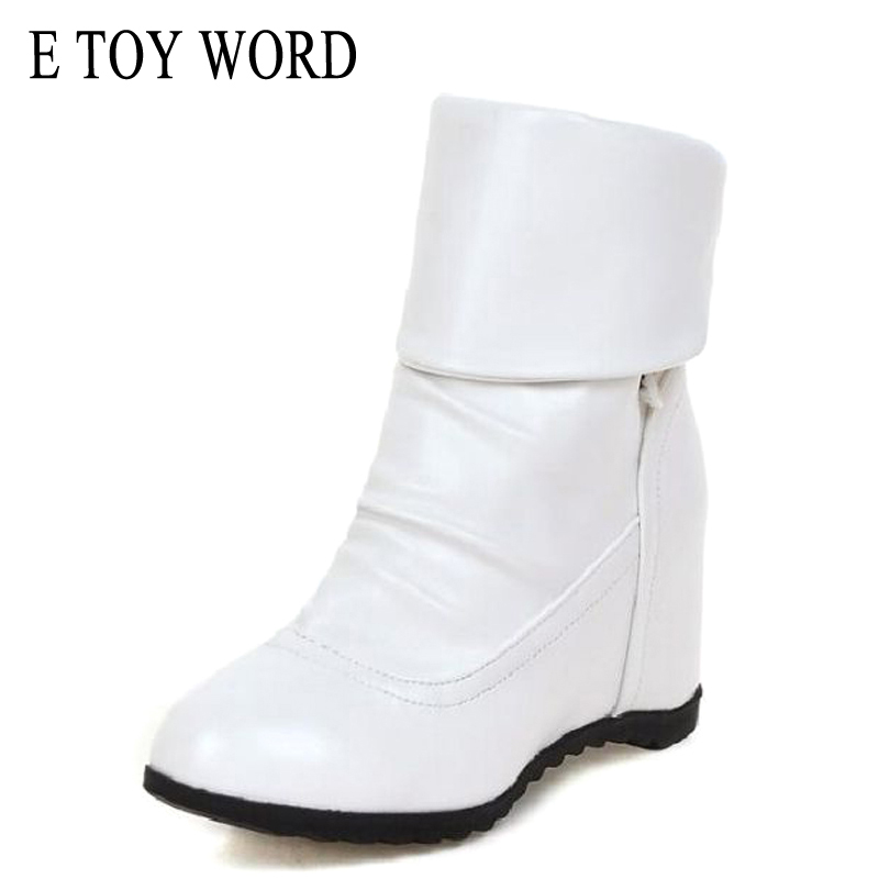 E TOY WORD Size 35-42 Fashion New Winter Mid-Calf Women Boots 3 Colors flat solid boots autumn Round Toe Slip-on Women Shoes stylish women s mid calf boots with solid color and fringe design