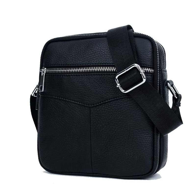 d9dbc170af41 BULLCAPTAIN 2018 Fashion Genuine Leather Shoulder bag men causal Crossbody  Bags Small Brand double Zipper Male