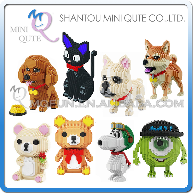 Mini Qute BABU cartoon mike Monster university animal dog cat kids plastic building block action figures boys educational toy 10pcs bag toy bag small pet shop figures toys animal cat dog patrulla canina action figures kids toys gift