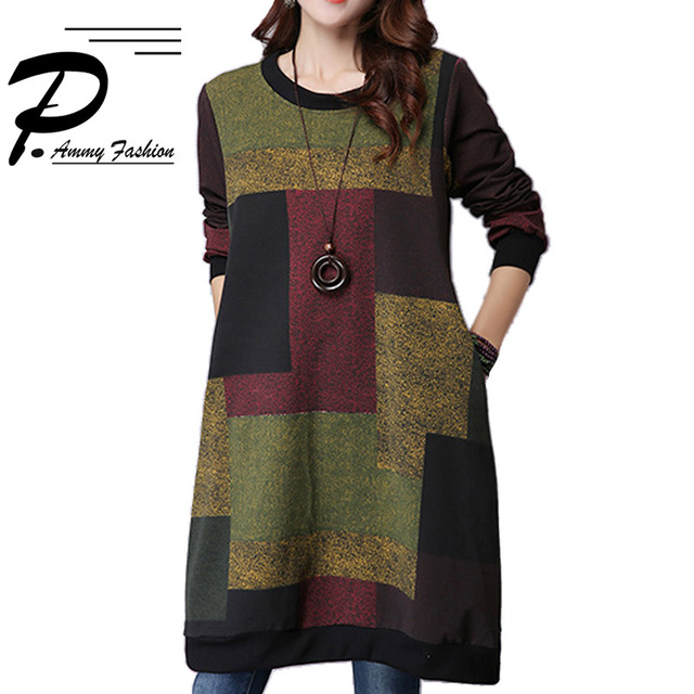 4a5ab347bc3 Women s Oversized Checkered Long sleeves Knitting Jumper Dress Sweatshirts  Pullover lagenlook voguees Trend long shirts