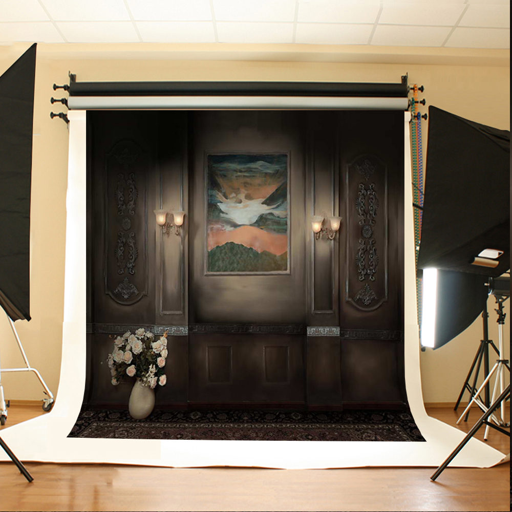 Wedding Photo Backdrops White Flowers Hanging Lights Computer Printing Background Gray Wall Murals Backgrounds for Photo Studio kate digital printing valentine s day photography backdrops pink rose flowers retro gray wood photo background for girls backdro