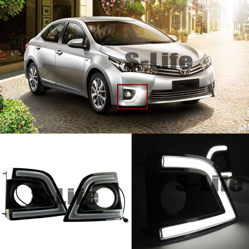 White LED Guide Daytime Fog Lamp Light DRL Light For Toyota Corolla 2014-2017 new halogen fog light lamp with wires and button for toyota corolla 2014 altis