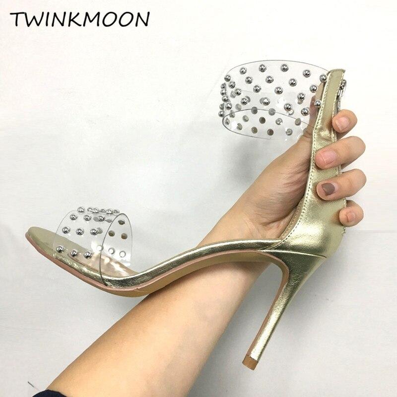 2019 sandales cloutées femmes talons aiguilles chaussures PVC Transparent sandales serpent imprimé chaussures en cuir zapatos de mujer - 6