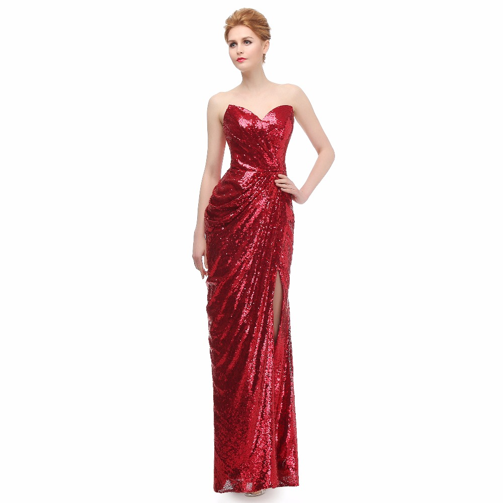 Mermaid Cocktail Dress: JYDress Women's Sweetheart Strapless Sequins Party Long