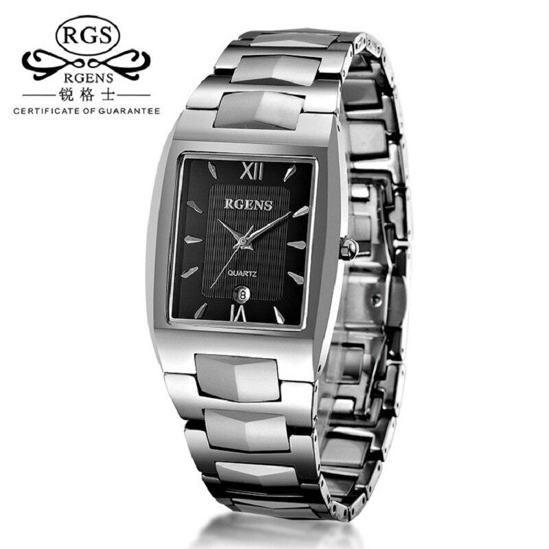 Luxury mens wristwatches Tungsten steel quartz Square calendar Male clocks waterproof thin man Business casual number 9060G